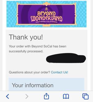 Beyond wonderland 2 days for Sale in Fullerton, CA