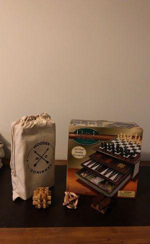 12 in 1 Wooden Games Center + Wooden Dominoes + 3 wooden puzzles for Sale in Woodbridge, VA