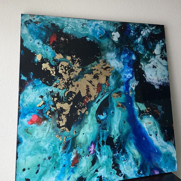 Abstract Canvas Wall Art (3ft X 3 Ft)