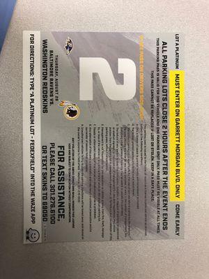 Parking pass FedEx field for 8/29 Lot A platinum for Sale in Mechanicsville, VA