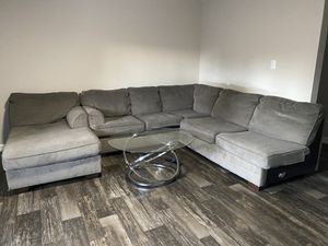 Bundle! Couch with glass coffee table and two glass end tables for Sale in Phoenix, AZ