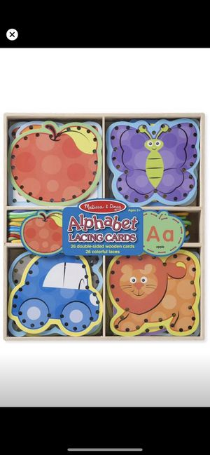 Melissa and Doug alphabet lacing cards for Sale in Manchester, CT
