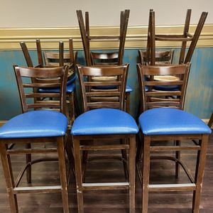 High Chair Bar Stools with Blue Upholstery for Sale in Falls Church, VA