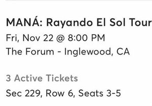Tickets for Mana 150 each for Sale in Los Angeles, CA