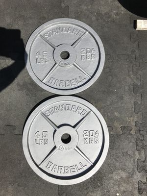 Standard Barbell Olympic Weights(2x45s) for $70 Firm!!! for Sale in Burbank, CA