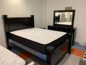 Brand New Shay Black Queen Size Poster Bedroom Set. Bed Frame, Dresser, Mirror and Nightstand for Sale in Jessup, MD