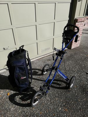 Golf bag, cart, clubs and extras for Sale in Olympia, WA