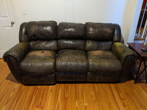 *FREE* brown faux leather reclining sofa for Sale in Marietta, GA
