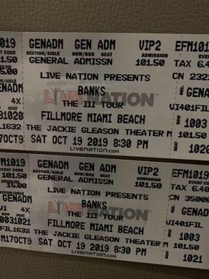 Banks @ Fillmore Miami Beach (2 tickets) for Sale in Miramar, FL