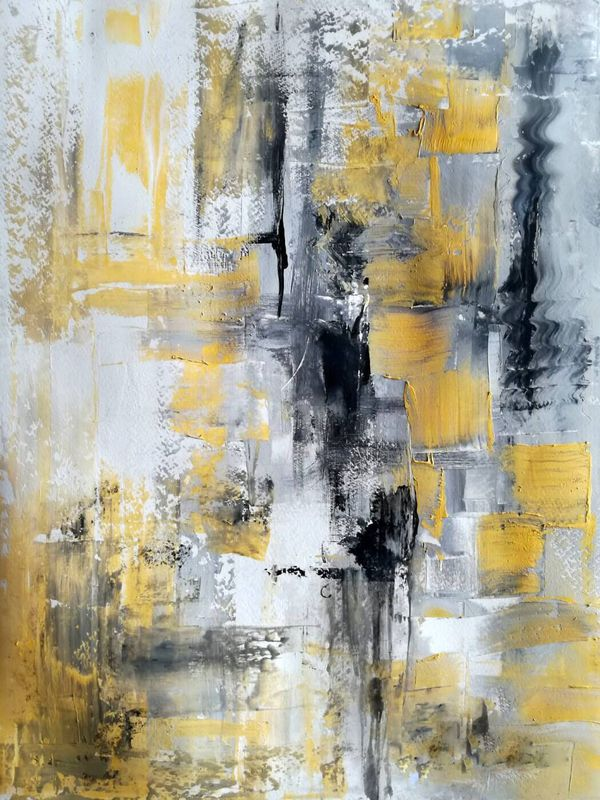 Black White And Yellow - Contemporary Abstract Art