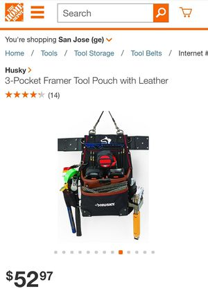 Husky 3-Pocket Framer Tool Pouch with Leather for Sale in Mountain View, CA