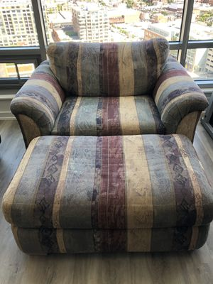 Large Upholstered Loveseat and Ottoman for Sale in Baltimore, MD
