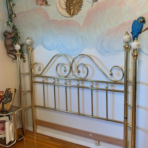 Full Size Brass & Porcelain headboard for Sale in Plainview, NY