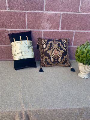 Vintage Asian Pillows Velvet Black and Gold for Sale in Downey, CA