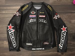 Women's leather Icon motorcycle Jacket for Sale in San Antonio, TX