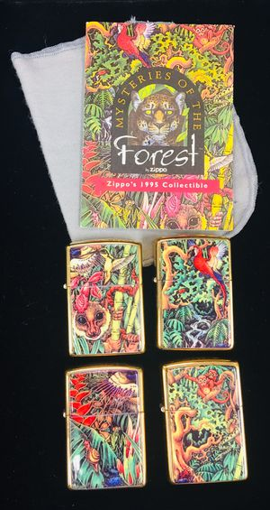 000000Zippo 1995 Limited Edition Mysteries of the Forest 4 lighter set mint In Tin. Never used for Sale in Miami, FL