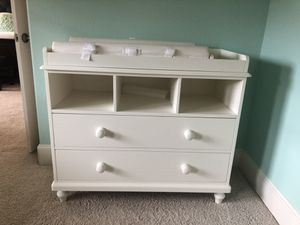 White Changing table with drawers and organizational slots. for Sale in Frisco, TX