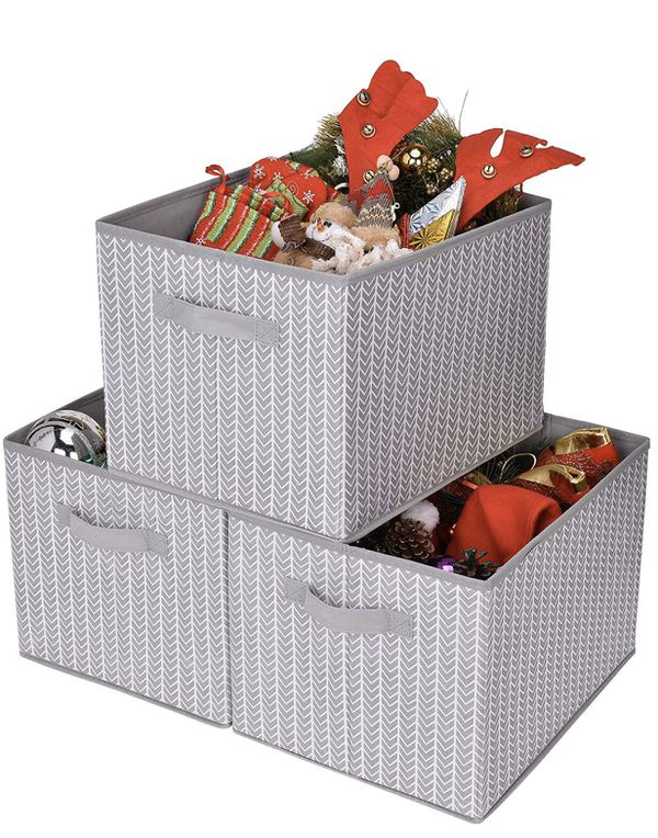 GRANNY SAYS Storage Basket for Shelves, Fabric Closet Storage Bins Cube Box with Handle Home Office Fabric Organizer, Jumbo, Gray/White, 3-Pack