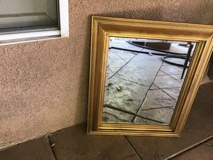 16x20 wall mirror good condition heavy duty ready to hang gold color In wood $10 for Sale in Riverbank, CA