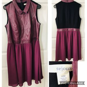 Sejour Lamb LEATHER Fit Flare Dress 14W Plum/Black in good condition (pick up only) for Sale in Alexandria, VA