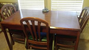 Cherry wood real light Dinning room table with 4 chairs $250 for Sale in Salt Lake City, UT