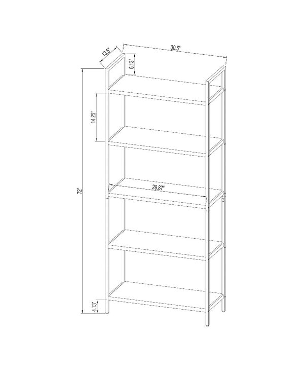 "Project 62 - 72"" Loring 5 shelf ladder bookcase - vintage oak"