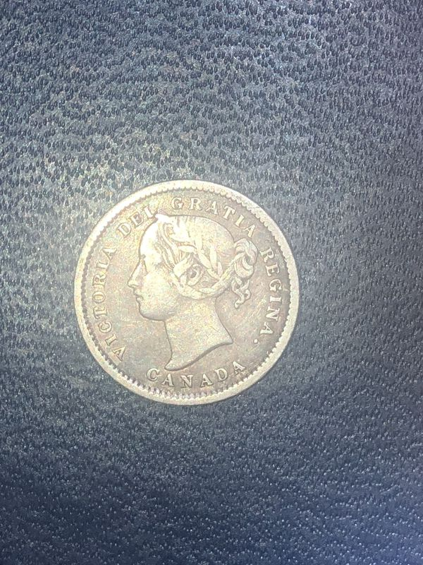 Silver 1871 H Canada 10 Cents.
