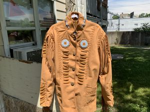 Native American suede leather fringe jacket size L BRAND NEW. for Sale in Boston, MA