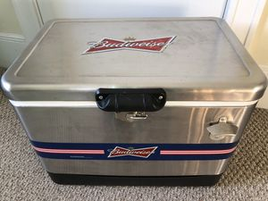 Budweiser 54 qt stainless steel cooler 85 cans Super Bowl Party for Sale in Revere, MA