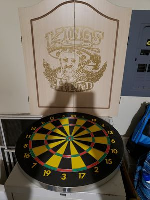 Dart board with wooden case and darts for Sale in Tomball, TX