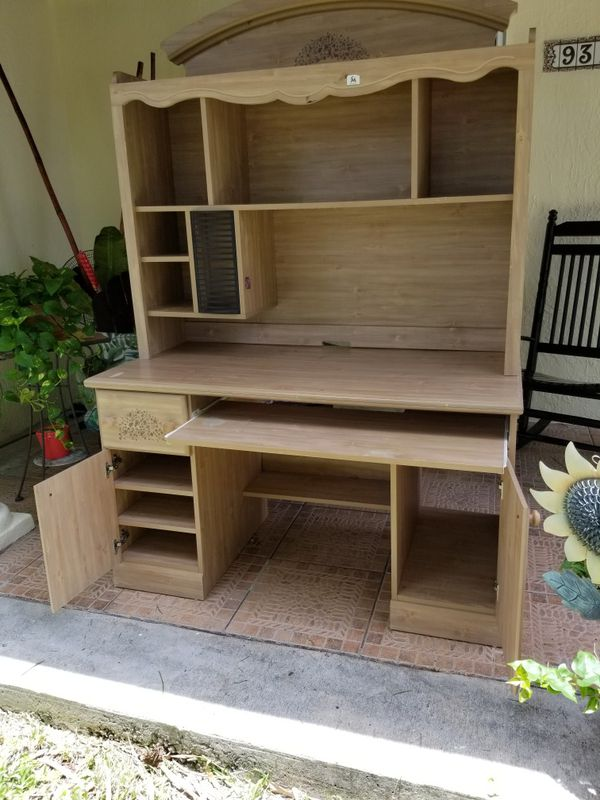 Desk with keyboard drawer and overhead hutch shelf