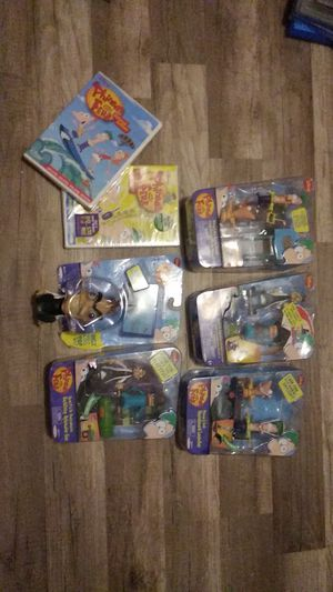 Phineas and Ferb toys, and 2 movies. for Sale in Coconut Creek, FL