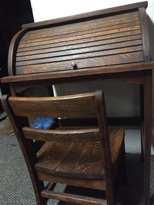 Child's antique rolltop desk with chair. for Sale in Woodlawn, MD
