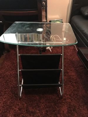 Glass Topped Side Table with Leather Storage Pouches for Sale in Brooklyn, NY