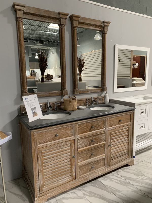 "60"" James Martin Furniture Savannah Driftwood Distressed Design bathroom vanity double sink cabinet with granite and mirrors to match"