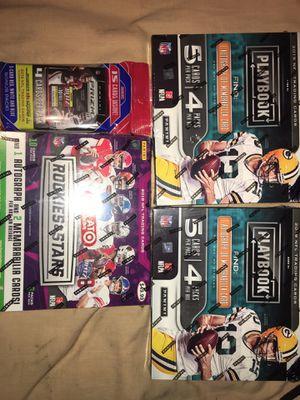 1 rookies & stars 1 auto 2 memorabilia box 2- panini playbook 1 auto 1 memorabilia box and 1 prizm holo fat pack for Sale in Pomona, CA