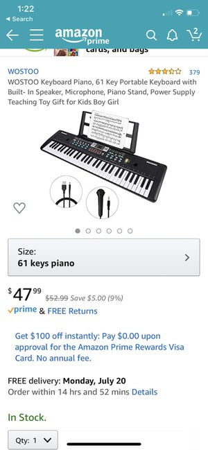 WOSTOO Keyboard Piano, 61 Key Portable Keyboard with Built- In Speaker, Microphone, Piano Stand, Power Supply Teaching Toy Gift for Kids Boy Girl for Sale in San Diego, CA