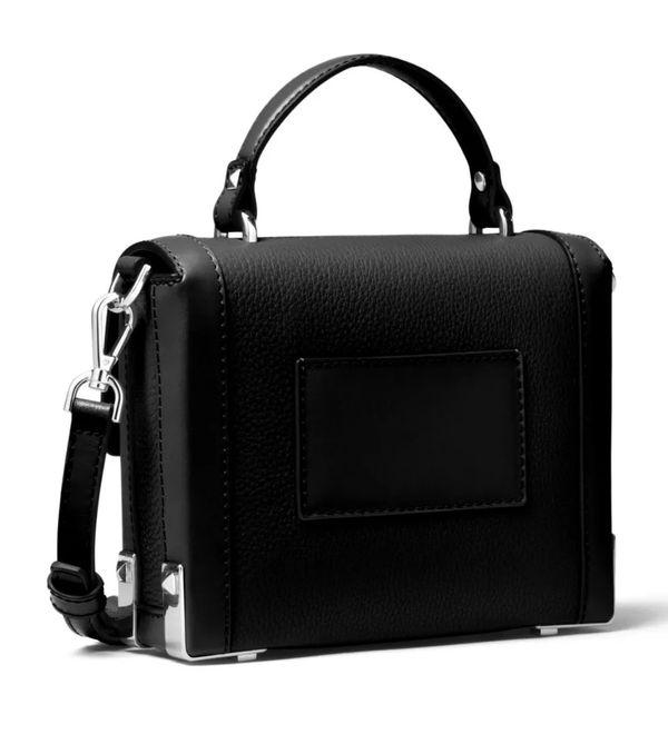 Michael Kors Jayne trunk bag handbag purse Crossbody black leather