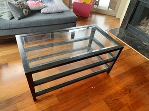 Crate and Barrel Coffee table (black wood and glass) for Sale in Seattle, WA