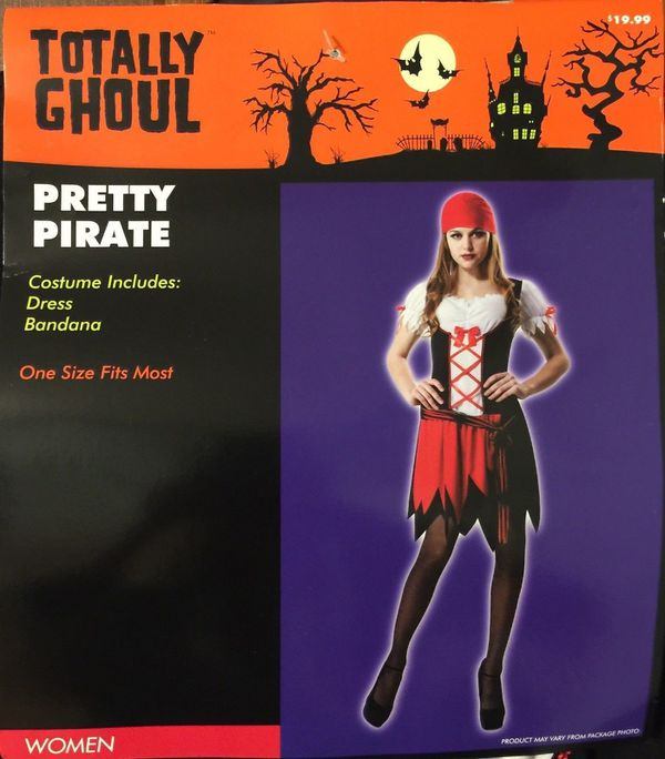 Pretty Pirate Wench Adult Halloween Costume Black Red Corset Dress NEW