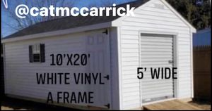 New 10' x 20' White Vinyl Shed with 5' Rollup Door for Sale in Lowell, MA