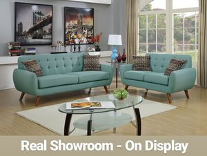 Real Showroom / Visit Us 😁 We Finance - Sky Blue Mid Century Style Couch Sofa and Loveseat 2pcs for Sale in Los Angeles, CA