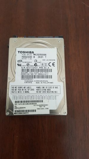 Toshiba MK2035GSS 200GB Serial ATA-150 4,200 RPM 8MB Laptop Hard Drive for Sale in Tampa, FL
