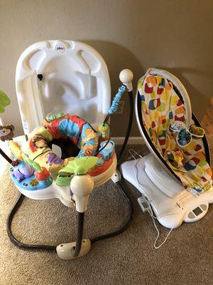 Baby gear lot/bundle (mamaroo, jumperoo, primo bathtub) for Sale in Vancouver, WA