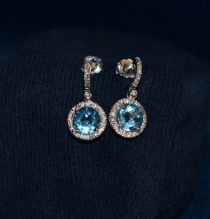Blue Topaz Diamond Earrings for Sale in Bristol, CT