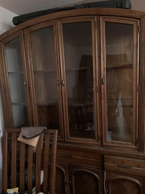 Beautiful china cabinet w glass shelves and interior lighting. Under drawer storage. for Sale in Hesperia, CA
