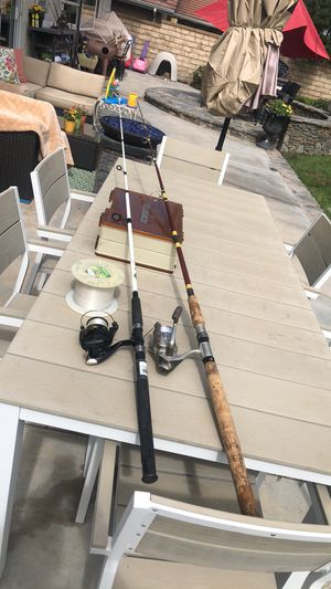 Two (2) Light Saltwater Spinning Rod and Reels with Two Sided Tackle Box Full of Lures & Spool of line. for Sale in Santa Clarita, CA