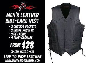 Real Leather motorcycle vest. for Sale in Boca Raton, FL
