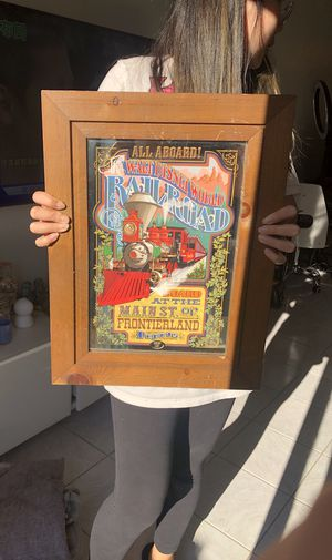 "Antique - The Disneyland Railroad (1975) lithographed mirror in wood frame, 12.75"" x 8.5"" image, 18.5"" x 14"" x .625"" frame This colorful framed pi for Sale in The Bronx, NY"