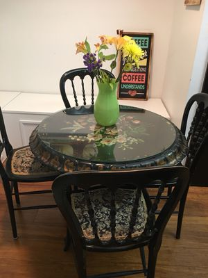 Unique Vintage Solid Hand Carved Five Pieces Dark Brown Glass Top Dining Set. One of a kind! for Sale in Pembroke Pines, FL
